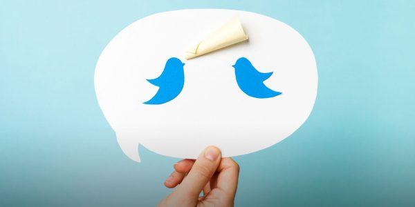 Twitter icons in a speech bubble