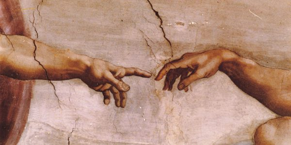 Historic painting of two hands almost touching