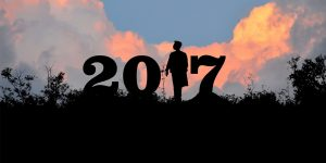 2017 silhouette amongst a sky background