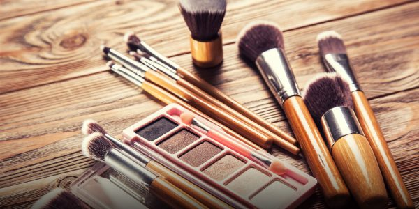 Beauty products and makeup brushes