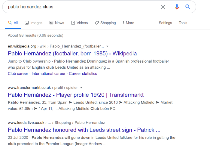 Pablo Hernandez search results