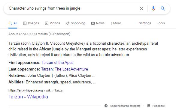 Google SERP for Tarzan-related query
