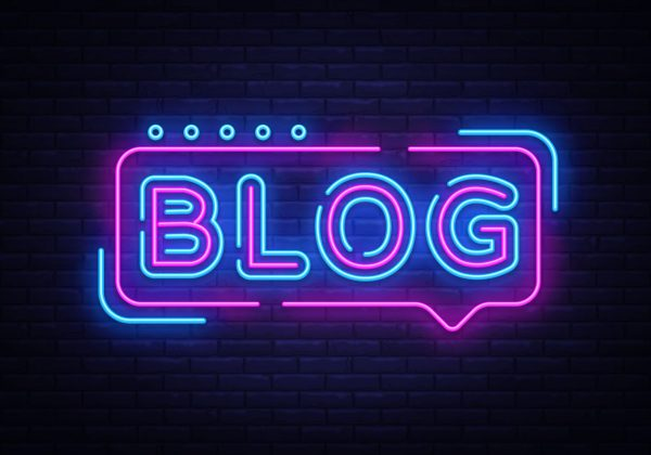 Blogging neon text vector design template. Blog neon logo, light banner design element colorful modern design trend, night bright advertising, bright sign. Vector illustration
